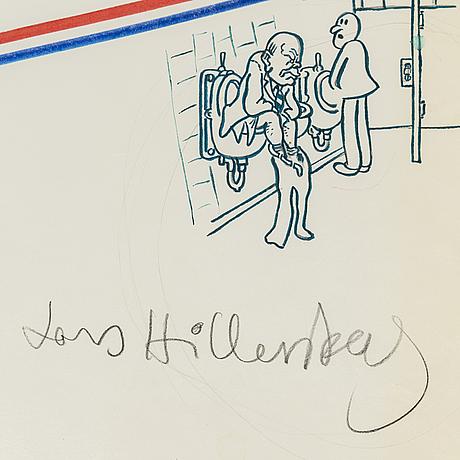 Lars hillersberg, mixed media on paper signed.