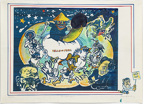 Lars hillersberg, hand colored lithograph, signed and numbered 23/25.
