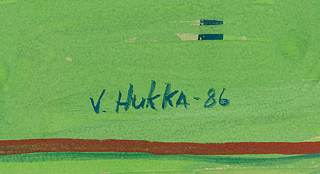 Veijo hukka, gouache, signed and dated -86.