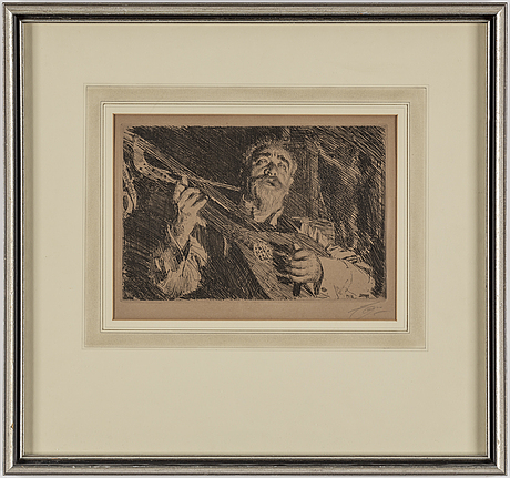 Anders zorn, etching, 1918, signed in pencil.