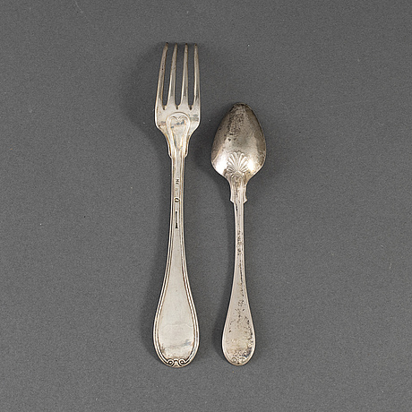 12 silver forks and 10 silver spoons, some  johan petter grönwall, stockholm 1824.