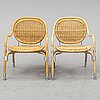 Mats theselius, a pair of rattan easy chairs from ikea ps, 21st century.