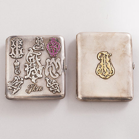 Two silver cigarette cases, saint petersburg, late 19th century and wiborg 1927.