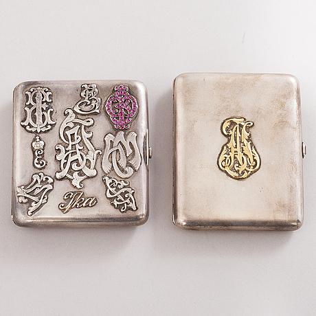 Cigarettetuier, 2 st, silver, s:t petersburg 1800-talets slut och viborg 1927.