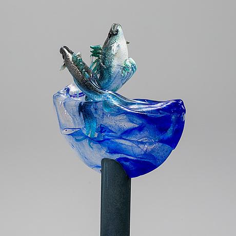 Kjell engman, a unique glass sculpture, kosta boda, sweden.
