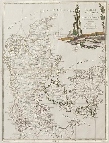Two 18th century hand coloured copper engraving maps by antonio zatta, venedig.