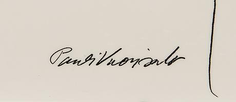 Pauli vuorisalo, mixed media on cheramic plate, signed.