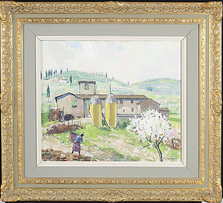 Olle hjortzberg, oil on panel signed and dated 56.