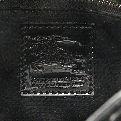 Burberry quilted black patent leather beaton tote bag.