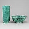 Wilhelm kÅge, a stoneware vas and bowl 'argenta', gustavsberg, vase 1951.