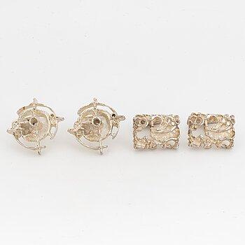 Juhls cufflinks, two pairs, silver.