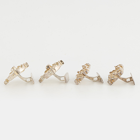 Juhls cufflinks, two pairs, silver.