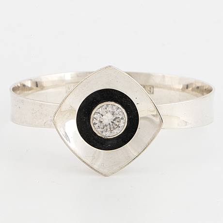 Alton, bangle, silver with synthetic white spinel. falköping 1972.