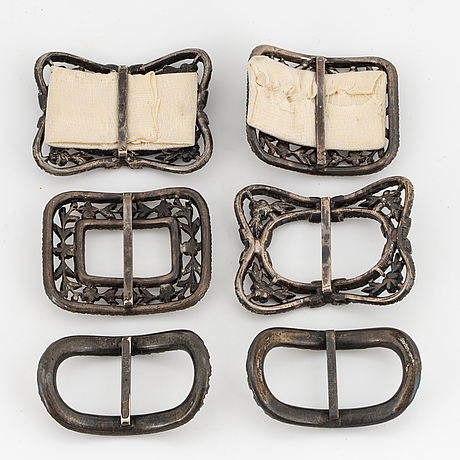 Shoe buckles, white metal and paste.