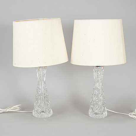 Carl fagerlund, a pair of table lamps for orrefors.