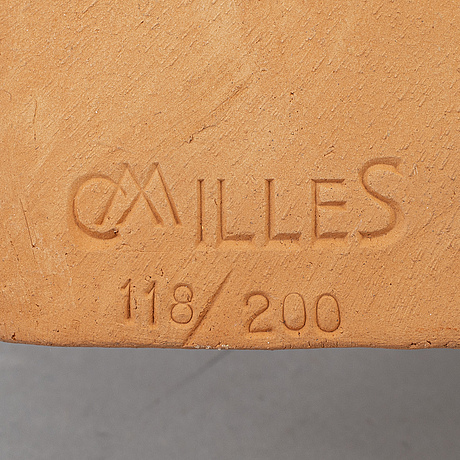 Carl milles, after, a terracotta wallplate, signed and numbered 118/200.