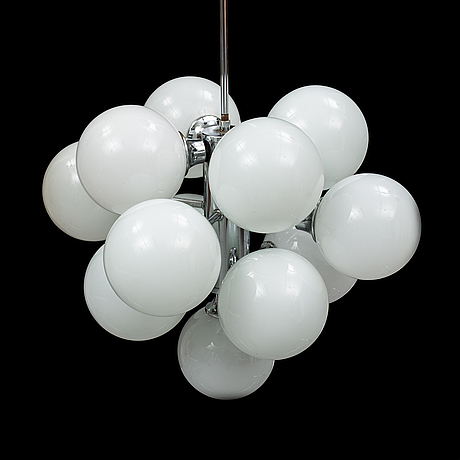 A chrome ceiling light, second half of the 20th century.