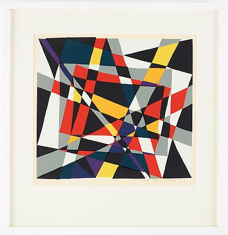 Olle bonniÉr, a handcolored silk screen, signed olle bonnier.