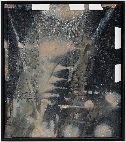 Max mikael book, mixed media on canvas, signed mm book verso and dated 1989.