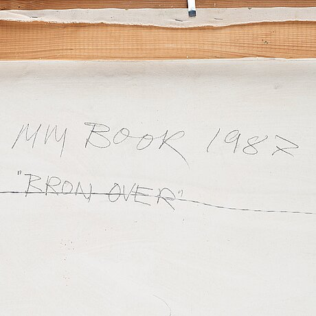Max mikael book, mixed media on canvas, signed with monogram, verso signed and dated 1987.
