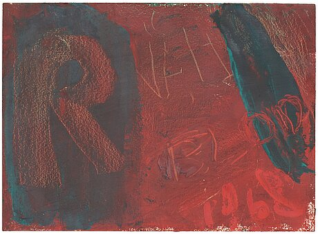 Eddie figge, oil on paper, verso signed figge and dated 1968.