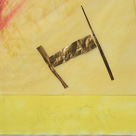 Eddie figge, mixed media and collage, signed figge and dated 1970.