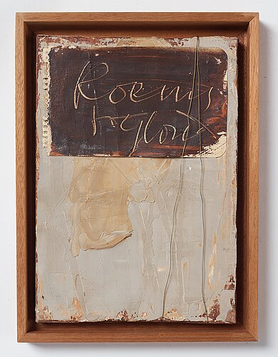 Eddie figge, mixed media on canvas, signed figge and dated 1964 on verso.