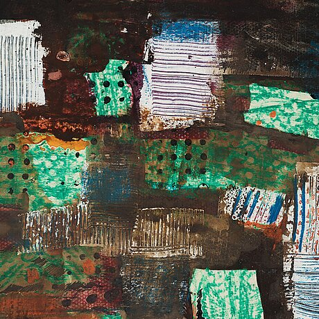 Endre nemes, crayon and acrylic on paper, signed endre nemes and dated 1963.