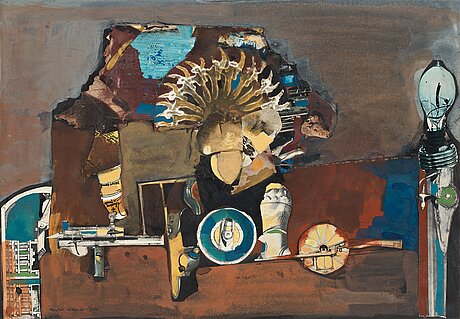 Endre nemes, acrylic and collage, signed and dated 1966.