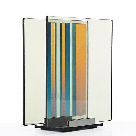 "Eric h olson, ""optochromi"", glass and plexi, signed under the base erik h. olson and dated ag -62."