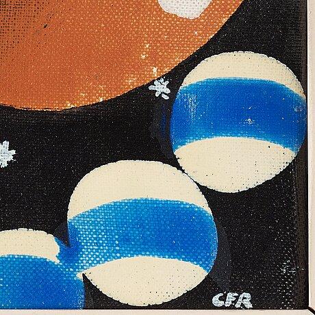 Carl fredrik reuterswÄrd, laquer on canvas, signed cfr.