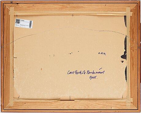 Carl fredrik reuterswÄrd, laquer and tempera on paper panel, signed cf reauterswärd.