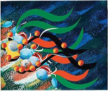 CARL FREDRIK REUTERSWÄRD, enamel on canvas, verso signed C F Reuterswärd and dated St:a Monica Beach 1981.