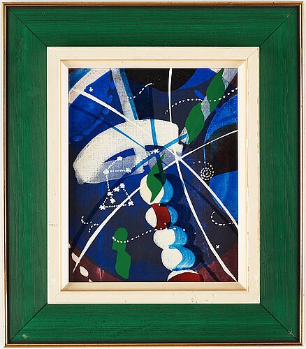 Carl fredrik reuterswÄrd, laquer and tempera on canvas, signed and dated 1972 on verso.