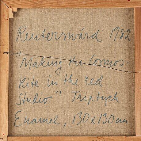 Carl fredrik reuterswÄrd, triptych, enamel on canvas, signed reuterswärd, dated 1982 on verso.