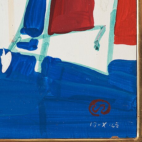 Lennart rodhe, oil on panel, signed with monogram and dated 13-x-65.