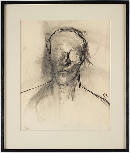 Olle skagerfors, charcoal on paper, signed os.