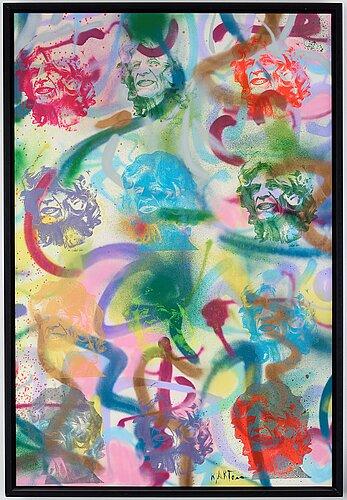 Kjartan slettemark, acrylic and silkscreen on canvas, signed.