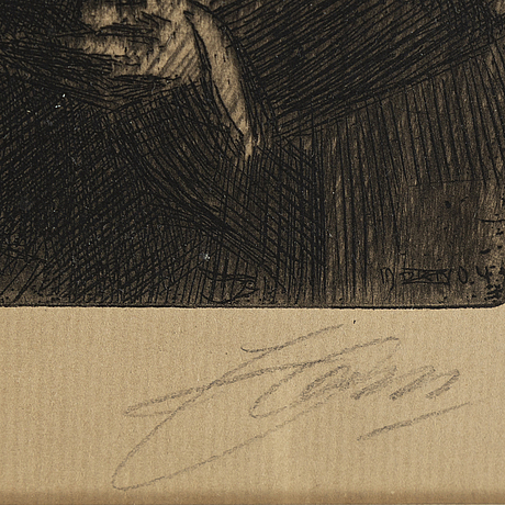 Anders zorn, etching, 1904, signed in pencil.