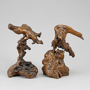 Two Chinese root sculptures, 20th century.