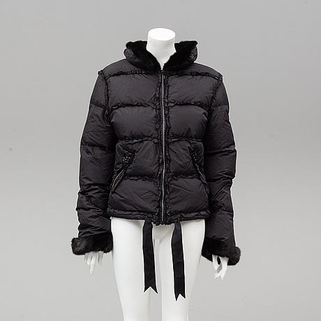 Blumarine, a down jacket with min kollar and cuffs, italian size 48.