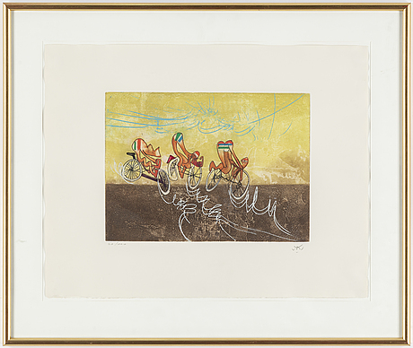 Roberto matta, etching in coloursm, signed and numbered 41/100.