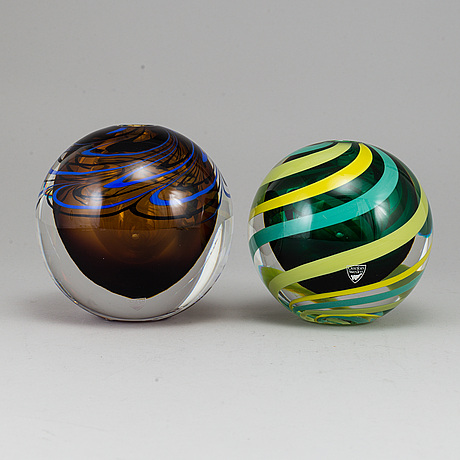 Erika lagerbielke, two glass vases, signed and dated 2003 & 2004.
