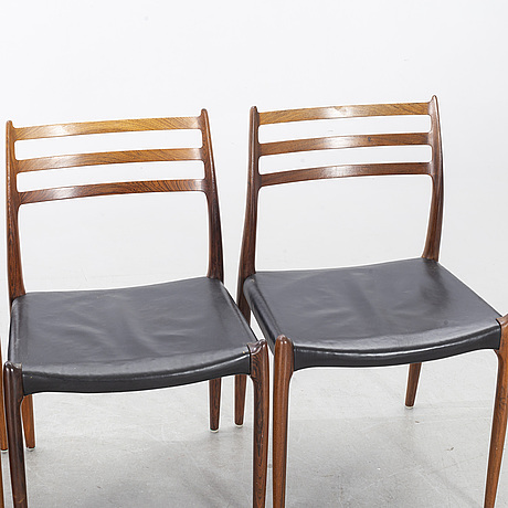 A table from slagelse möbelvaerk a/s and 4 chairs, niels otto møller, jl møller. denmark, 1960's.