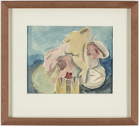 Max walter svanberg, mixed media, signed and dated -42.
