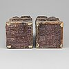 A pair of chinese soapstone seals/stands, 19th century.