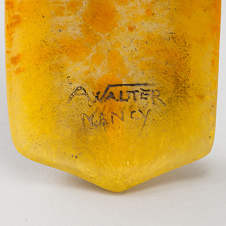 Almaric walter, fat, pâte de verre, jugend, nancy, frankrike, omkring 1900.