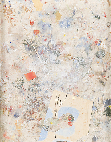 Peter sandelin, mixed media on canvas, signed and dated -86.