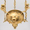 A brass hanging basket, 19th century.