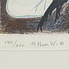 Mona huss walin, lithograph in colours, signed, dated -70 and numbered 175/260.